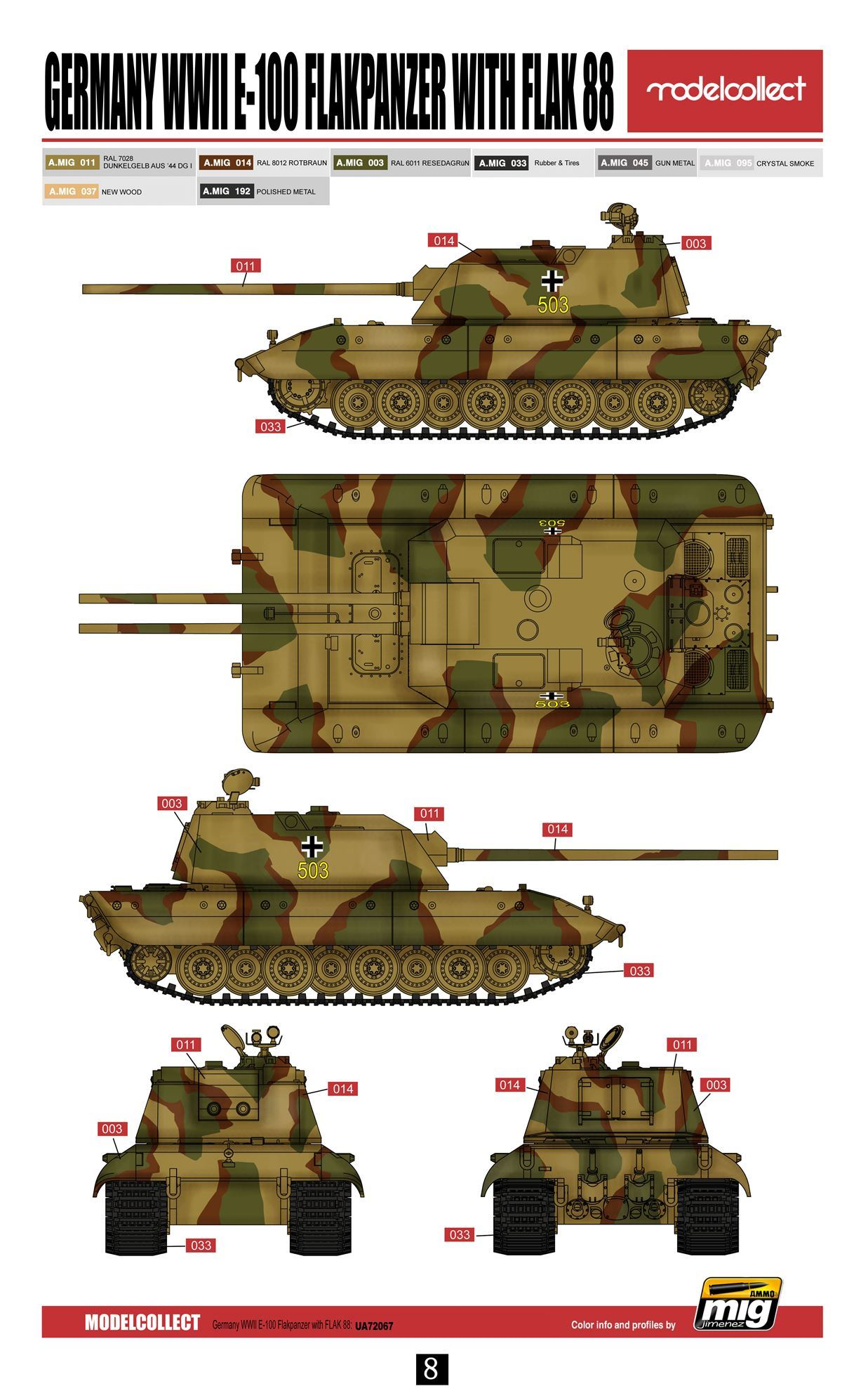 Modelcollect. Germany WWII E-100 Flakpanzer with flak 88